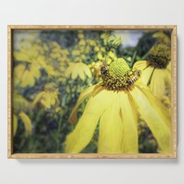 Bees on Yellow Flower Serving Tray