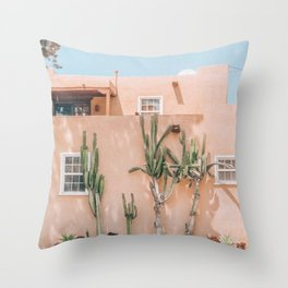 Pink House With Cactus Throw Pillow