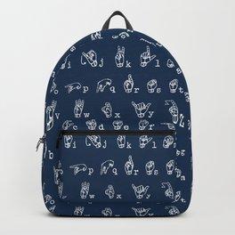 ASL Alphabet // Navy Backpack