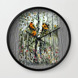 Gold Finches Wall Clock