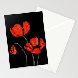 Red Poppies On Black by Sharon Cummings Stationery Cards