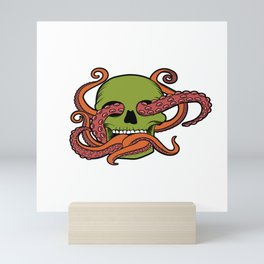 Unique Death Metal Tee With Illustration Of A Skull And Octopus T-shirt Design Sub Genre Trash Black Mini Art Print