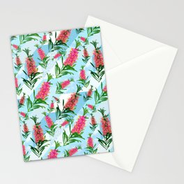 Beautiful Pink Australian Natives on Blue Geometric Background Stationery Cards