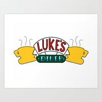 central perk Art Prints featuring Gilmore Girls/Friends - Luke's Diner at Central Perk by Scurpix Art