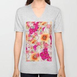 Pink orange spring vintage floral watercolor illustration pattern Unisex V-Neck