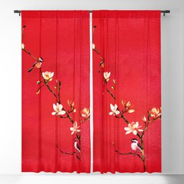 Watercolor Chickadees on a Flowering Magnolia Branch Blackout Curtain