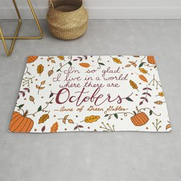 October | Fall | Autumn | Quote | Typography  Rug
