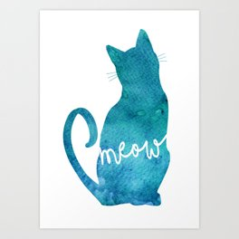 Watercolour Cat Silhouette Art Print