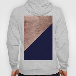 Minimalist rose gold navy blue color block geometric Hoody