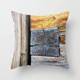 Old log cabin wooden wall Throw Pillow
