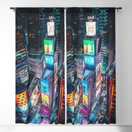 Times Square Nighttime Landscape Painting by Jeanpaul Ferro Blackout Curtain
