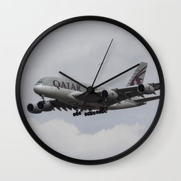 Qatar Airlines Airbus And Seagull Escort Wall Clock