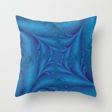 Blue Square Spiral Throw Pillow