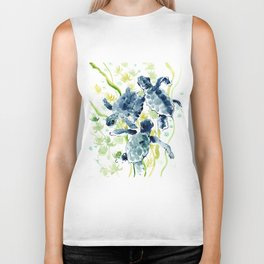 Sea Turtles , Indigo Blue Olive green Turtle art Biker Tank