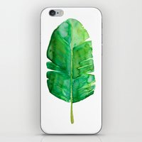 banana leaf iPhone & iPod Skins featuring Banana Leaf by Huckleberry Design Studio