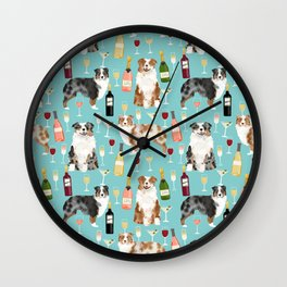 Australian Shepherd blue and red merle wine cocktails yappy hour pattern dog breed Wall Clock