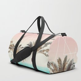 Modern tropical palm tree sunset pink blue beach photography white geometric triangles Duffle Bag