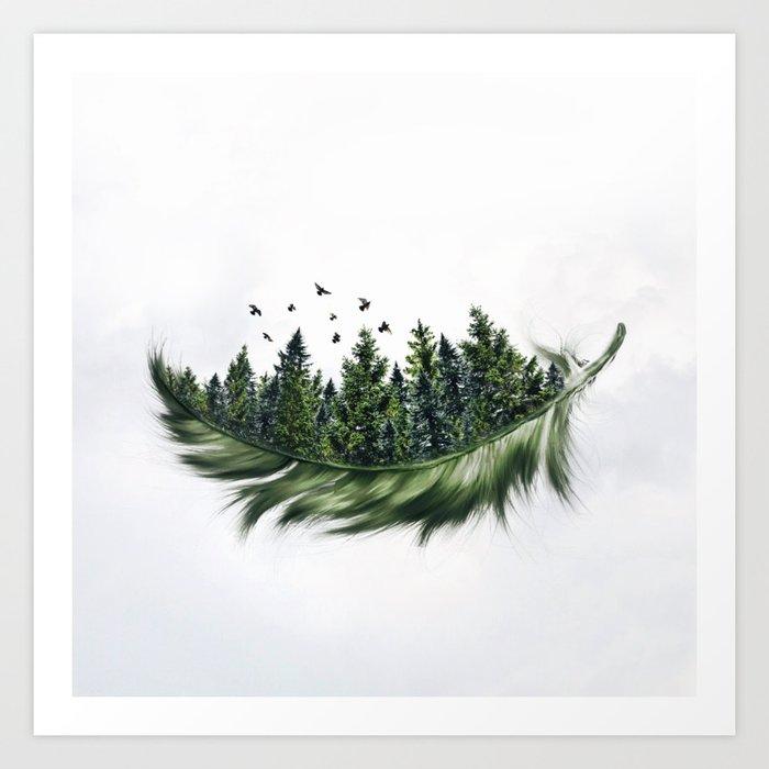 Earth Feather • Green Feather (horizontal) Kunstdrucke