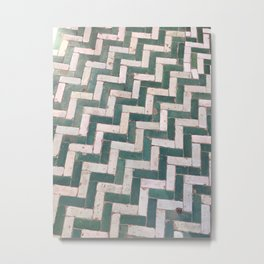 Moroccan floor tiles in green and white chevron Metal Print