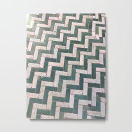 Moroccan floor tiles in green and white chevron Metal Print