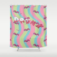 drunk Shower Curtains featuring Drunk by Woomin Jeong