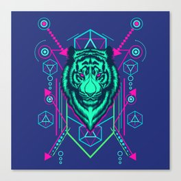 Cool Sacred Geometry Glowing Tiger Radioactive Stripes Illustration Canvas Print