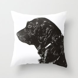 Black Lab Print Throw Pillow