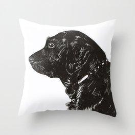 Black Lab Print Throw Pillow