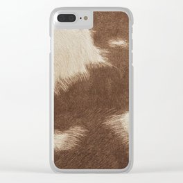 Cowhide Brown and White Clear iPhone Case