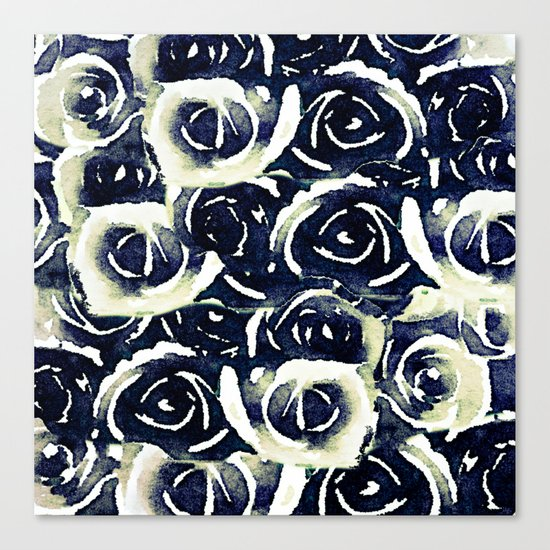roses in deep blue Canvas Print