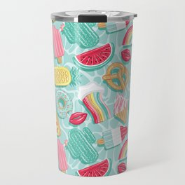 Epic pool floats top view // aqua background Travel Mug