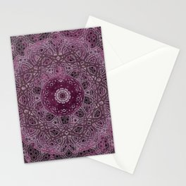 Vintage Merlot Lace Mandala Stationery Cards