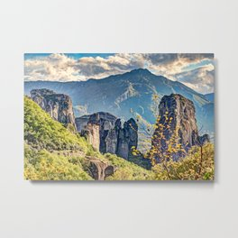The Roussanou Monastery in the Meteora Monastery complex in Greece is dedicated to St. Barbara. Metal Print