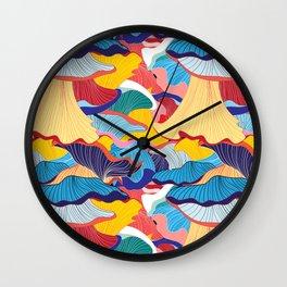 Pattern of colorful mushrooms Wall Clock