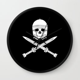 Skull Soldier Gladiator With Swords Wall Clock