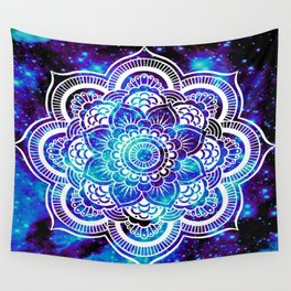 Mandala : Bright Violet & Teal Galaxy Wall Tapestry