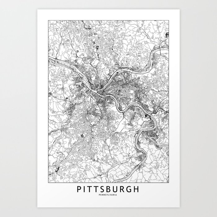 Pittsburgh White Map Kunstdrucke