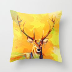 Forest King - Deer painting Throw Pillow