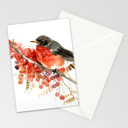 American Robin and Berries Stationery Cards