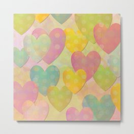 Pastel Colors Flying Hearts Metal Print