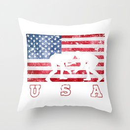 Team USA Wrestling on Olympic Games Throw Pillow