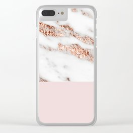 Blushed rose gold vein Clear iPhone Case