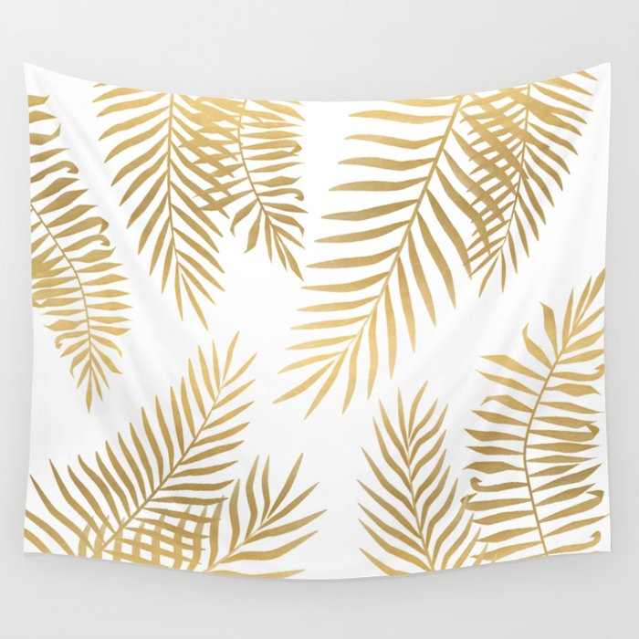 Gold Palm Leaves Wall Tapestry By Martaolgaklara Society6