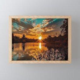 Sunset over Moswansicut Pond, North Scituate, Rhode Island Framed Mini Art Print