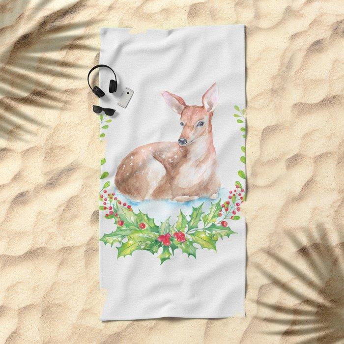 Winter animal #15 Beach Towel