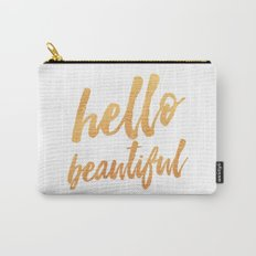 Hello Beautiful - Gold Typography Carry-All Pouch