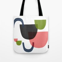 mid century Tote Bags featuring Mid Century Shapes Greebn by Modern Day Magpie
