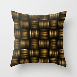Golden Chocolate Brown Weave Throw Pillow