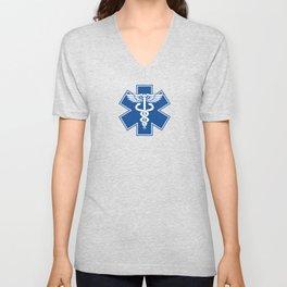 EMT EMS Health Care Caduceus Blue Star of Life Medical Symbol Unisex V-Neck