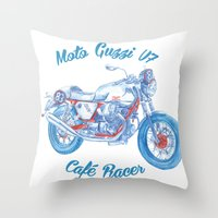 cafe racer Throw Pillows featuring moto guzzi - cafe racer by dareba